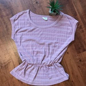 👚 Cinched striped peplum top